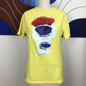 Daniele Alessandrini Yellow Striped Face T Shirt